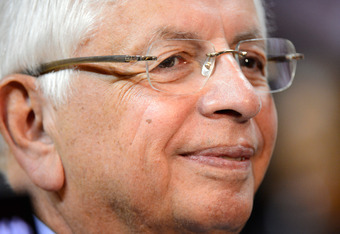 MIAMI, FL - JUNE 21:  NBA Commissioner David Stern looks on prior to the Miami Heat hosting the Oklahoma City Thunder in Game Five of the 2012 NBA Finals on June 21, 2012 at American Airlines Arena in Miami, Florida. NOTE TO USER: User expressly acknowled