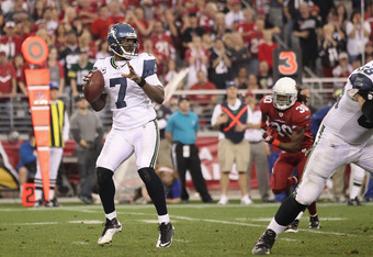 GLENDALE, AZ - JANUARY 01:  Quarterback Tarvaris Jackson #7 of the Seattle Seahawks throws a pass during the NFL game against the Arizona Cardinals at the University of Phoenix Stadium on January 1, 2012 in Glendale, Arizona.  The Cardinals defeated the S