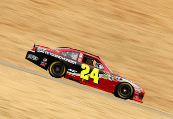 SONOMA, CA - JUNE 22:  Jeff Gordon drives the #24 Drive to End Hunger Chevrolet during practice for the NASCAR Sprint Cup Series Toyota/Save Mart 350 at Sonoma on June 22, 2012 in Sonoma, California.  (Photo by Ezra Shaw/Getty Images)