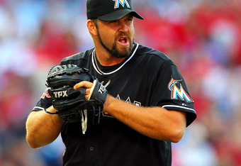 PHILADELPHIA, PA - JUNE 2: Heath Bell #21 of the Miami Marlins gets ready to pitch against the Philadelphia Phillies in a MLB baseball game on June 2, 2012 at Citizens Bank Park in Philadelphia, Pennsylvania. (Photo by Rich Schultz/Getty Images)