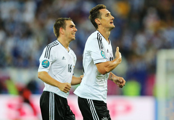 GDANSK, POLAND - JUNE 22:  Miroslav Klose of Germany celebrates scoring their third goal during the UEFA EURO 2012 quarter final match between Germany and Greece at The Municipal Stadium on June 22, 2012 in Gdansk, Poland.  (Photo by Joern Pollex/Getty Im