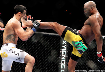 Silva changed the game with his front kick KO of Belfort at UFC 126.  Expect an even bigger game changer at UFC 148.  Image courtesy of Tracy Lee/Yahoo! Sports.