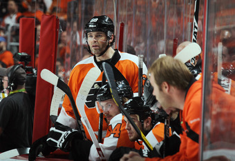 PHILADELPHIA, PA - MAY 08: Jaromir Jagr #68 of the Philadelphia Flyers gets ready to play against the New Jersey Devils in Game Five of the Eastern Conference Semifinals during the 2012 NHL Stanley Cup Playoffs at Wells Fargo Center on May 8, 2012 in Phil