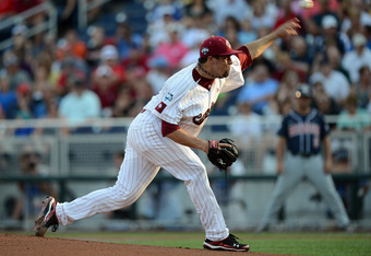 OMAHA, NE - JUNE 25:  Michael Roth #29 of the South Carolina Gamecocks pitches in the first inning against the Arizona Wildcats during game 2 of the College World Series at TD Ameritrade Field on June 25, 2012 in Omaha, Nebraska.  (Photo by Harry How/Gett