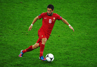 L'VIV, UKRAINE - JUNE 09:  Joao Moutinho of Portugal in action during the UEFA EURO 2012 group B match between Germany and Portugal at Arena Lviv on June 9, 2012 in L'viv, Ukraine.  (Photo by Laurence Griffiths/Getty Images)