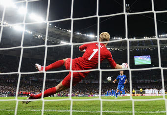 KIEV, UKRAINE - JUNE 24:  Andrea Pirlo of Italy scores past Joe Hart of England during the penalty shoot out during the UEFA EURO 2012 quarter final match between England and Italy at The Olympic Stadium on June 24, 2012 in Kiev, Ukraine.  (Photo by Laure