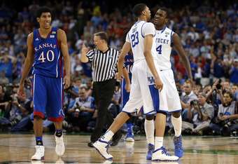 NEW ORLEANS, LA - APRIL 02:  Anthony Davis #23 and Michael Kidd-Gilchrist #14 of the Kentucky Wildcats react late in the second half while taking on the Kansas Jayhawks in the National Championship Game of the 2012 NCAA Division I Men's Basketball Tournam