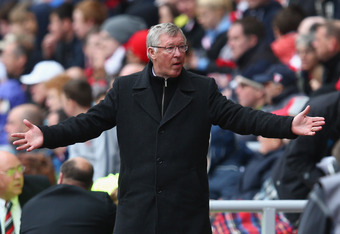 SUNDERLAND, ENGLAND - MAY 13:  Sir Alex Ferguson of Manchester United expresses himself during the Barclays Premier League match between Sunderland and Manchester United at Stadium of Light on May 13, 2012 in Sunderland, England.  (Photo by Clive Mason/Ge