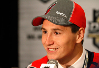 PITTSBURGH, PA - JUNE 22: Filip Forsberg, 11th overall pick by the Washington Capitals, speaks to media during Round One of the 2012 NHL Entry Draft at Consol Energy Center on June 22, 2012 in Pittsburgh, Pennsylvania.  (Photo by Justin K. Aller/Getty Ima