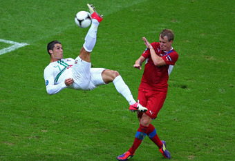 WARSAW, POLAND - JUNE 21:  Cristiano Ronaldo of Portugal attempts an overhead kick during the UEFA EURO 2012 quarter final match between Czech Republic and Portugal at The National Stadium on June 21, 2012 in Warsaw, Poland.  (Photo by Michael Steele/Gett