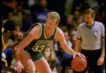 1988:  Forward Larry Bird of the Boston Celtics in action versus the Los Angeles Lakers at the Forum in Inglewood, California. Mandatory Credit: Rick Stewart  /Allsport