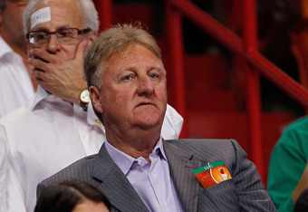 MIAMI, FL - MAY 22: Larry Bird, President of Basketball Operations for the Indiana Pacers looks on during Game Five of the Eastern Conference Semifinals in the 2012 NBA Playoffs against the Miami Heat at AmericanAirlines Arena on May 22, 2012 in Miami, Fl