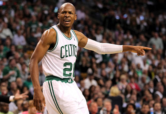 BOSTON, MA - JUNE 07:  Ray Allen #20 of the Boston Celtics reacts in the first hlaf against the Miami Heat in Game Six of the Eastern Conference Finals in the 2012 NBA Playoffs on June 7, 2012 at TD Garden in Boston, Massachusetts. NOTE TO USER: User expr