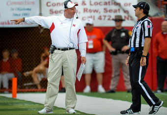 LINCOLN, NE - SEPTEMBER 03: Nebraska Cornhusker head coach Bo Pelini gestures during their game against the Chattanooga Mocs at Memorial Stadium September 3, 2011in Lincoln, Nebraska. Nebraska won 40-7. (Photo by Eric Francis/Getty Images)