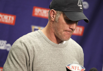 DETROIT, MI - JANUARY 02:  Brett Favre #4 of the Minnesota Vikings talks at a post game press conference after a 13-20 loss to the Detroit Lions at Ford Field on January 2, 2011 in Detroit, Michigan.  (Photo by Gregory Shamus/Getty Images)