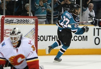 SAN JOSE, CA - APRIL 22:  Jeremy Roenick #27 of the San Jose Sharks celebrates scoring a goal against Miikka Kiprusoff #34 of the Calgary Flames in the second period during game seven of the 2008 NHL conference quarter-final series on April 22, 2008 at HP