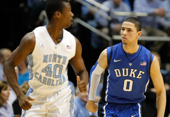 CHAPEL HILL, NC - FEBRUARY 08:  Harrison Barnes #40 of the North Carolina Tar Heels and Austin Rivers #0 of the Duke Blue Devils during their game at the Dean Smith Center on February 8, 2012 in Chapel Hill, North Carolina.  (Photo by Streeter Lecka/Getty