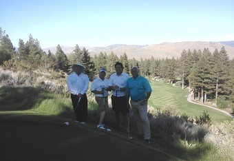 Montreux's 16th hole from the tee... a fun foursome- (L to R) Palm Springs' Matt McKay host of the Elevated Tee, the desert's original golf talk show; Sacramento's Vince Mastrucco, producer and host of Golf Talk; yours truly; and Texas golf writer Steve Habel.