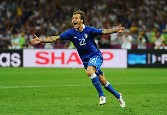 KIEV, UKRAINE - JUNE 24:  Alessandro Diamanti of Italy celebrates scoring the winning penalty during the UEFA EURO 2012 quarter final match between England and Italy at The Olympic Stadium on June 24, 2012 in Kiev, Ukraine.  (Photo by Laurence Griffiths/G