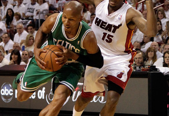 MIAMI, FL - JUNE 09:  Ray Allen #20 of the Boston Celtics drives on Mario Chalmers #15 of the Miami Heat in the first quarter in Game Seven of the Eastern Conference Finals in the 2012 NBA Playoffs on June 9, 2012 at American Airlines Arena in Miami, Flor