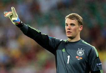 L'VIV, UKRAINE - JUNE 17:  Manuel Neuer of Germany signals during the UEFA EURO 2012 group B match between Denmark and Germany at Arena Lviv on June 17, 2012 in L'viv, Ukraine.  (Photo by Joern Pollex/Getty Images)