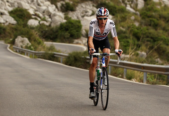 PUERTO DE ALCUDIA, SPAIN - JUNE 19:  Team SKY rider Bradley Wiggins of Great Britain trains in the mountains of Mallorca in preparation for the 2012 Tour de France on June 19, 2012 in Puerto de Alcudia, Spain.  (Photo by Bryn Lennon/Getty Images). Wiggins