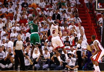MIAMI, FL - JUNE 05:  Kevin Garnett #5 of the Boston Celtics attempts a shot in the fourth quarter against LeBron James #6 of the Miami Heat in Game Five of the Eastern Conference Finals in the 2012 NBA Playoffs on June 5, 2012 at American Airlines Arena