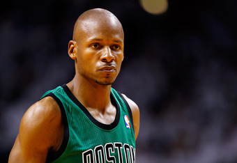 MIAMI, FL - MAY 28:  Ray Allen #20 of the Boston Celtics looks on against the Miami Heat in Game One of the Eastern Conference Finals in the 2012 NBA Playoffs on May 28, 2012 at American Airlines Arena in Miami, Florida.  NOTE TO USER: User expressly ackn