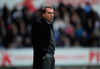 SWANSEA, WALES - APRIL 28:  Swansea manager Brendan Rodgers reacts during the Barclays Premier league match between Swansea City and Wolverhampton Wanderers at Liberty Stadium on April 28, 2012 in Swansea, Wales.  (Photo by Stu Forster/Getty Images)