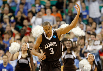 GREENSBORO, NC - MARCH 16:  C.J. McCollum #3 of the Lehigh Mountain Hawks reacts after a made basket in the second half while taking on the Duke Blue Devils during the second round of the 2012 NCAA Men's Basketball Tournament at Greensboro Coliseum on Mar