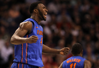 PHOENIX, AZ - MARCH 24:  Patric Young #4 of the Florida Gators reacts in the first half while taking on the Louisville Cardinals during the 2012 NCAA Men's Basketball West Regional Final at US Airways Center on March 24, 2012 in Phoenix, Arizona.  (Photo