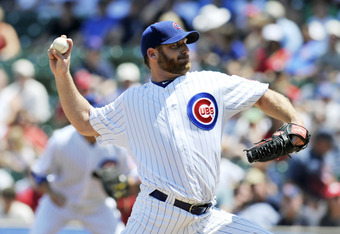 CHICAGO, IL - JUNE 15: Ryan Dempster #46 of the Chicago Cubs pitches against the Boston Red Sox in the first inning on June 15, 2012 at Wrigley Field in Chicago, Illinois.  (Photo by David Banks/Getty Images)