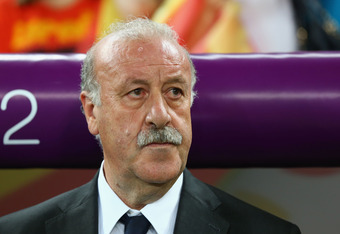 DONETSK, UKRAINE - JUNE 27:  Coach Vicente del Bosque of Spain looks on during the UEFA EURO 2012 semi final match between Portugal and Spain at Donbass Arena on June 27, 2012 in Donetsk, Ukraine.  (Photo by Martin Rose/Getty Images)