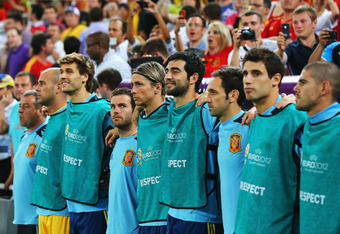 DONETSK, UKRAINE - JUNE 27:  Fernando Torres of Spain (C) lines up with the substitutes during the national anthems during the UEFA EURO 2012 semi final match between Portugal and Spain at Donbass Arena on June 27, 2012 in Donetsk, Ukraine.  (Photo by Mar