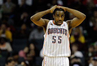 CHARLOTTE, NC - FEBRUARY 10:  Reggie Williams #55 of the Charlotte Bobcats reacts to a call against the Chicago Bulls during their game at Time Warner Cable Arena on February 10, 2012 in Charlotte, North Carolina. NOTE TO USER: User expressly acknowledges