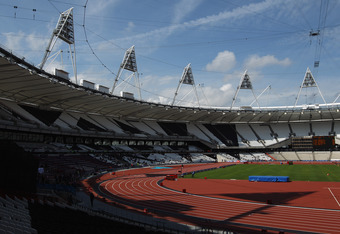 LONDON, ENGLAND - MAY 08:  A general view of the Olympics Stadium during the Visa London Disability Athletics Challenge LOCOG Test Event for the London 2012 Paralympic Games at Olympic Stadium on May 8, 2012 in London, England.  (Photo by Bryn Lennon/Gett