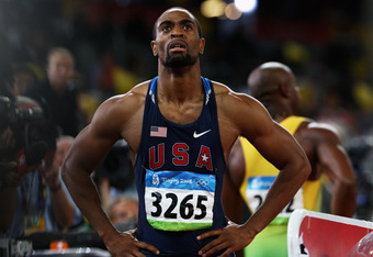 BEIJING - AUGUST 16:  Tyson Gay of the United States looks up to the scoreboard after competing in the Men's 100m Semifinal at the National Stadium on Day 8 of the Beijing 2008 Olympic Games on August 16, 2008 in Beijing, China.  (Photo by Michael Steele/