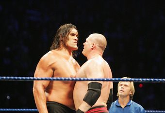 SYDNEY, AUSTRALIA - JUNE 15:  The Great Khali and ECW Champion Kane stare each other down during WWE Smackdown at Acer Arena on June 15, 2008 in Sydney, Australia.  (Photo by Gaye Gerard/Getty Images)