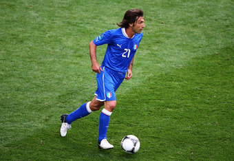 POZNAN, POLAND - JUNE 14:  Andrea Pirlo of Italy on the ball during the UEFA EURO 2012 group C match between Italy and Croatia at The Municipal Stadium on June 14, 2012 in Poznan, Poland.  (Photo by Christof Koepsel/Getty Images)