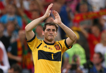 DONETSK, UKRAINE - JUNE 27: Iker Casillas of Spain applauds  during the UEFA EURO 2012 semi final match between Portugal and Spain at Donbass Arena on June 27, 2012 in Donetsk, Ukraine.  (Photo by Alex Livesey/Getty Images)