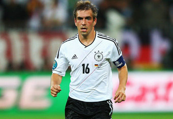 GDANSK, POLAND - JUNE 22:  Philipp Lahm of Germany in action during the UEFA EURO 2012 quarter final match between Germany and Greece at The Municipal Stadium on June 22, 2012 in Gdansk, Poland.  (Photo by Michael Steele/Getty Images)