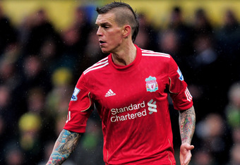 NORWICH, ENGLAND - APRIL 28:  Daniel Agger of Liverpool controls the ball during the Barclays Premier League match between Norwich City and Liverpool at Carrow Road on April 28, 2012 in Norwich, England.  (Photo by Jamie McDonald/Getty Images)