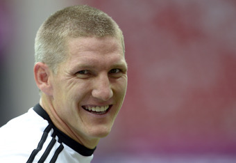 WARSAW, POLAND - JUNE 27:  Bastian Schweinsteiger of Germany attends a training session ahead of their UEFA EURO 2012 semi-final match against Italy, at National Stadium on June 27, 2012 in Warsaw, Poland.  (Photo by Claudio Villa/Getty Images)