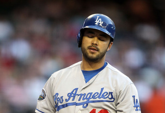 PHOENIX, AZ - MAY 21:  Andre Ethier #16 of the Los Angeles Dodgers reacts as he bats against the Arizona Diamondbacks during the MLB game at Chase Field on May 21, 2012 in Phoenix, Arizona.  (Photo by Christian Petersen/Getty Images)