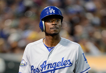 OAKLAND, CA - JUNE 19:  Dee Gordon #9 of the Los Angeles Dodgers walks back to the dugout after striking out in the six inning against the Oakland Athletics at O.co Coliseum on June 19, 2012 in Oakland, California.  (Photo by Thearon W. Henderson/Getty Im