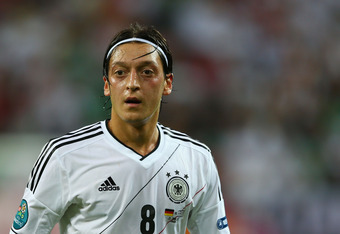 GDANSK, POLAND - JUNE 22:  Mesut Ozil of Germany in action during the UEFA EURO 2012 quarter final match between Germany and Greece at The Municipal Stadium on June 22, 2012 in Gdansk, Poland.  (Photo by Michael Steele/Getty Images)
