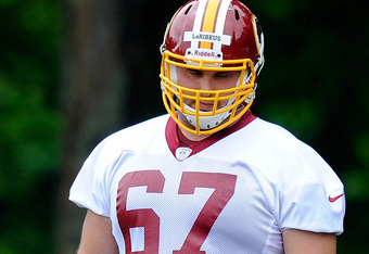 ASHBURN, VA - MAY 06:  Josh LeRibeus #67 of the Washington Redskins takes part in a practice during the Washington Redskins rookie minicamp on May 6, 2012 in Ashburn, Virginia.  (Photo by Patrick McDermott/Getty Images)