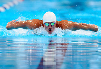 OMAHA, NE - JUNE 25:  Ryan Lochte competes in preliminary heat 12 of the Men's 400 m Individual Medley during the 2012 U.S. Olympic Swimming Team Trials at CenturyLink Center on June 25, 2012 in Omaha, Nebraska.  (Photo by Jamie Squire/Getty Images)