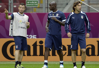 Strikers Antonio Cassano (left) and Mario Balotelli (middle) will have to capitalize on the chances that come their way via Andrea Pirlo (right)
