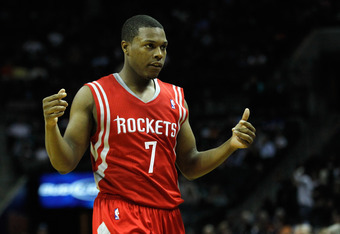 CHARLOTTE, NC - JANUARY 10:  Kyle Lowry #7 of the Houston Rockets against the Charlotte Bobcats during their game at Time Warner Cable Arena on January 10, 2012 in Charlotte, North Carolina.   NOTE TO USER: User expressly acknowledges and agrees that, by
